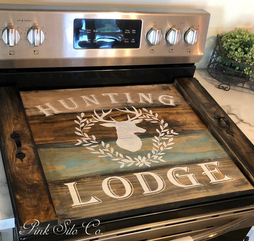 couvre plaque de cuisson en bois de palette