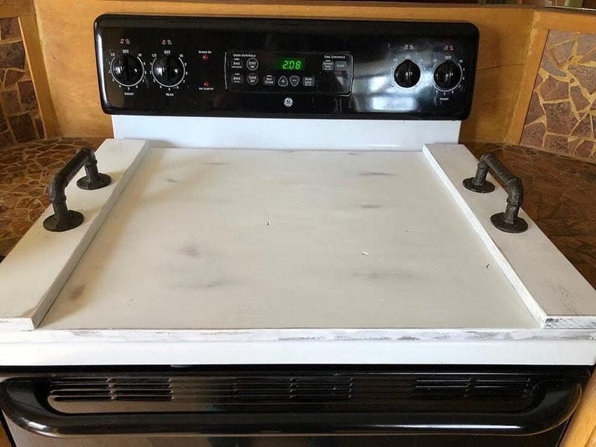 couvre plaque de cuisson en bois blanc