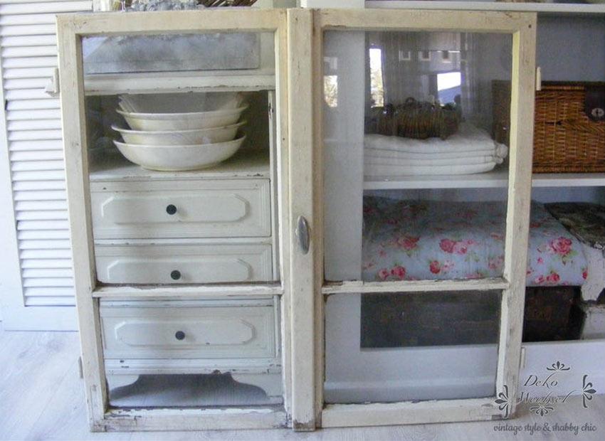 meuble vitré blanc cassé maison de campagne