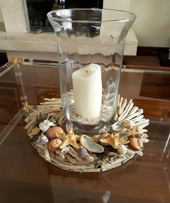 photophore, vase en verre DIY avec centre de table en bois