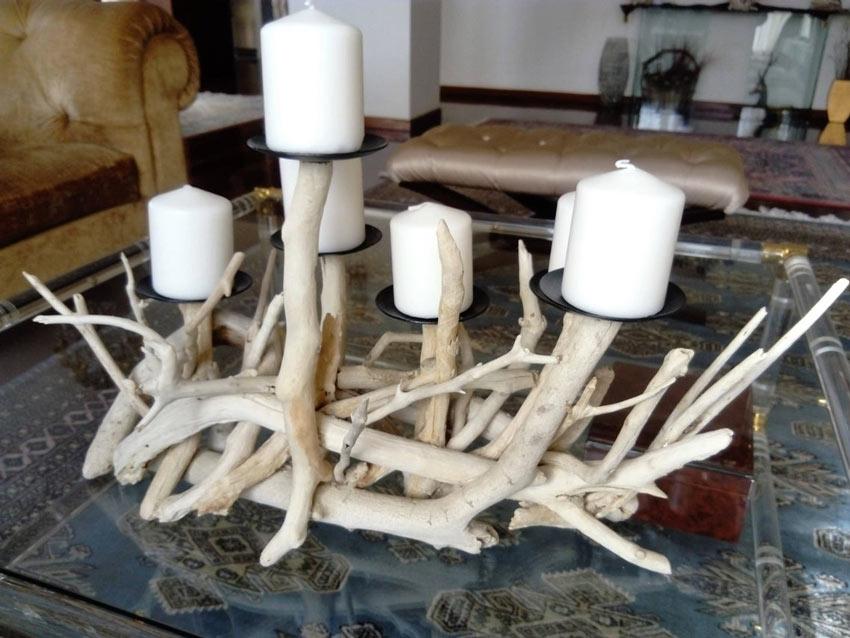 bougeoir original avec branches en bois