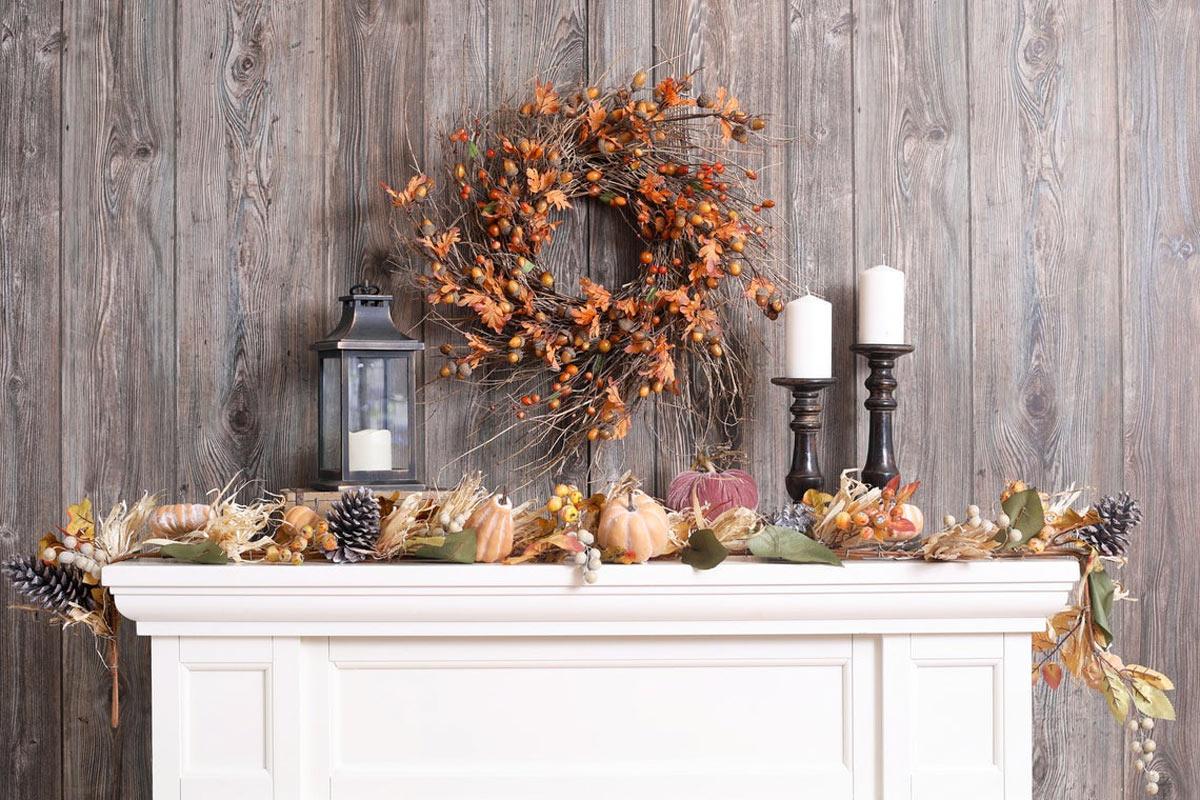 couronne d'automne avec brindilles