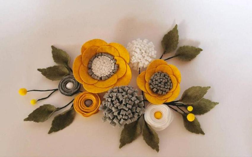 Fleurs en tissu style Shabby