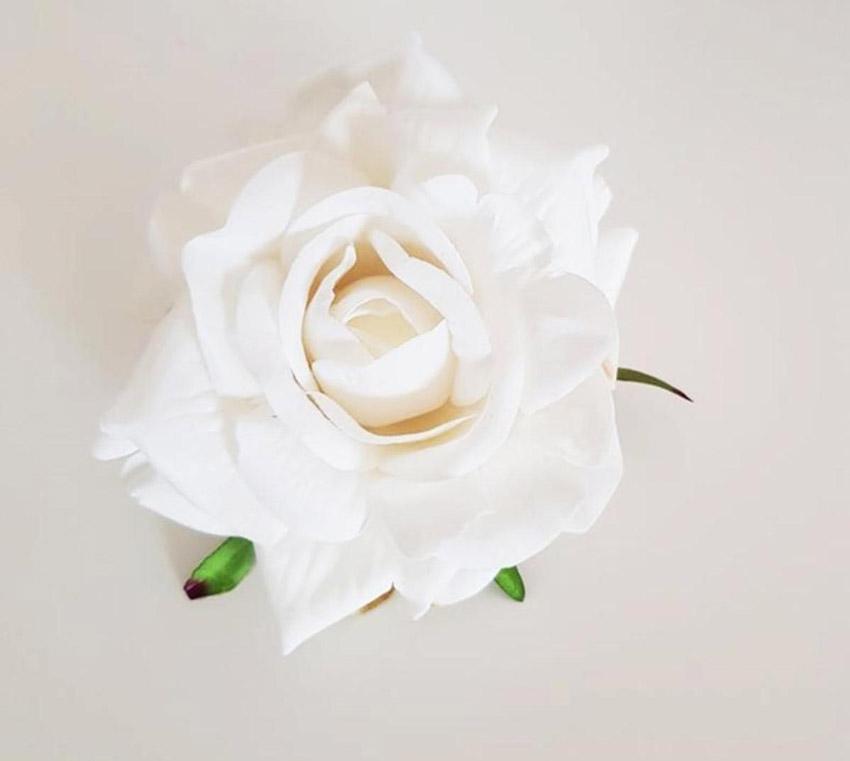 Rose blanche en tissu style Shabby