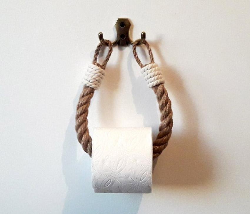 porte-rouleaux papier toilette DIY avec corde