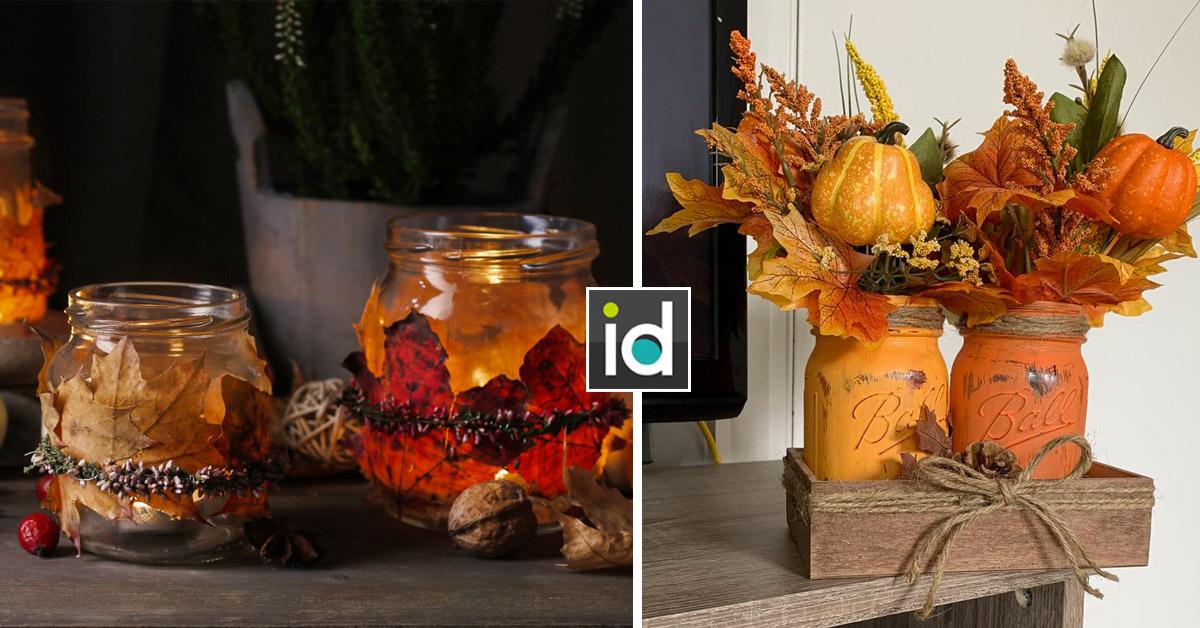 Une belle décoration d'automne avec un bocal recyclé.