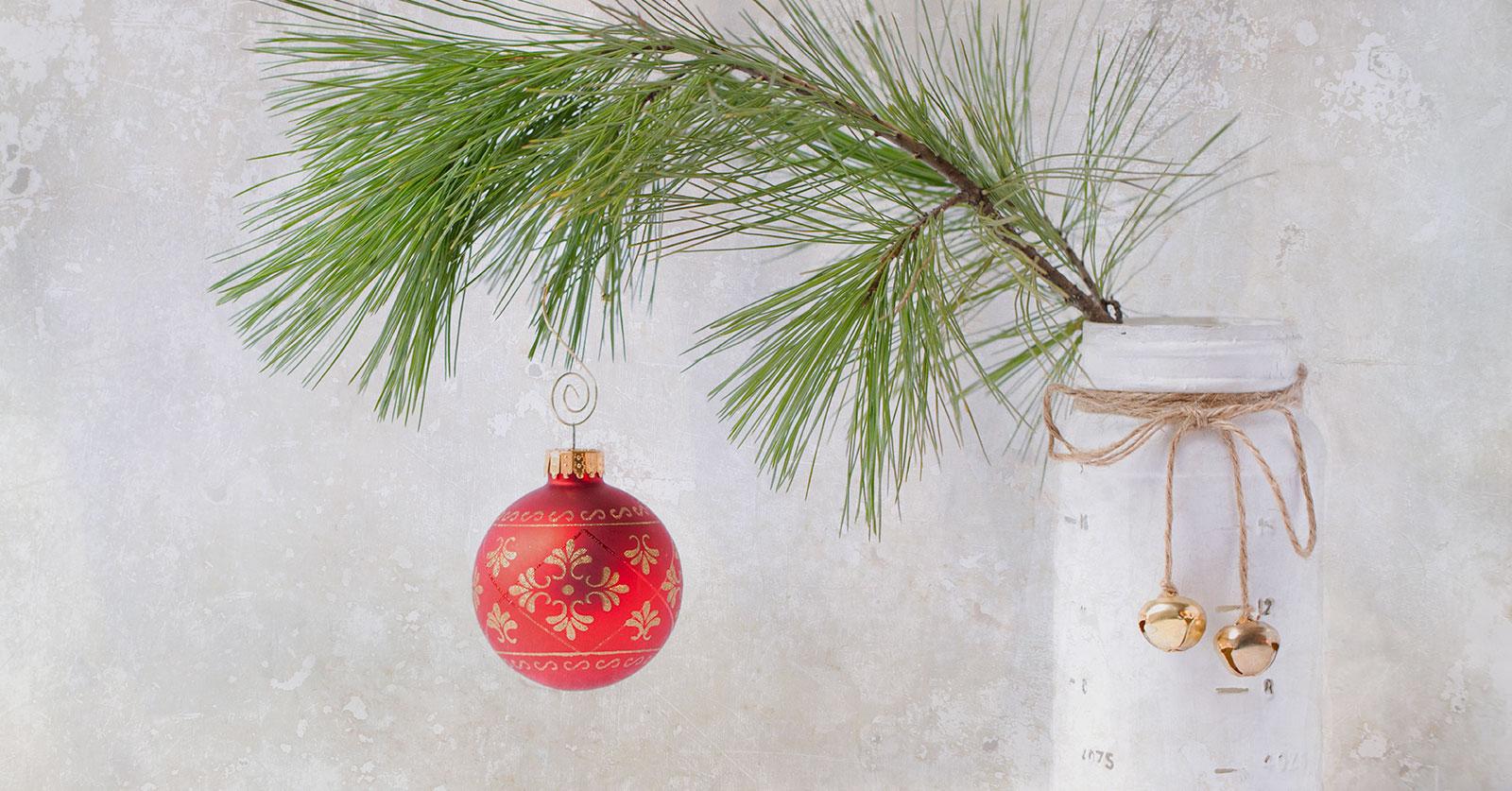 Décorations d'hiver avec des branches de sapin