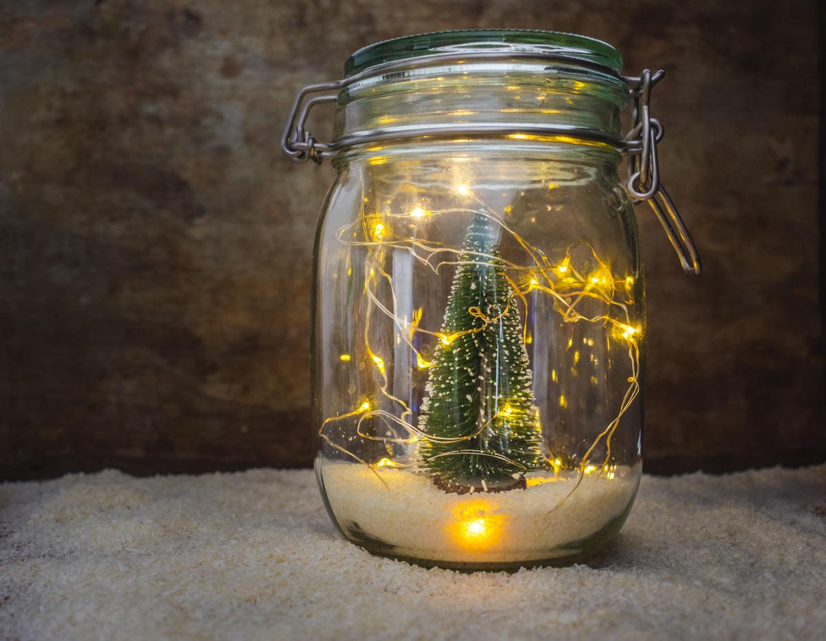 Bocal en verre lumineux, décoration Noël