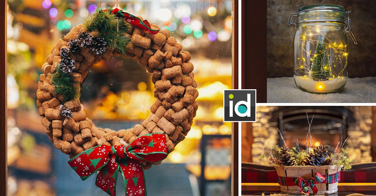 Décorations de Noël avec des objets de récupération.