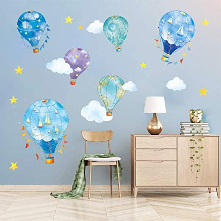 chambre des enfants décorée stickers muraux