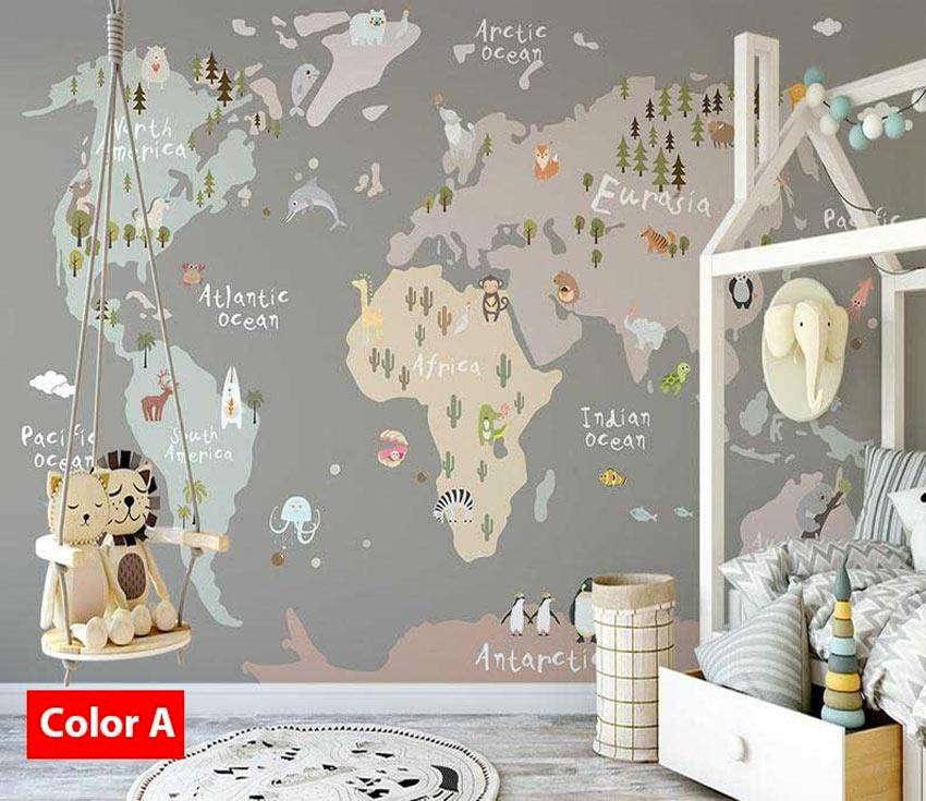 chambre des enfants stickers muraux carte du monde