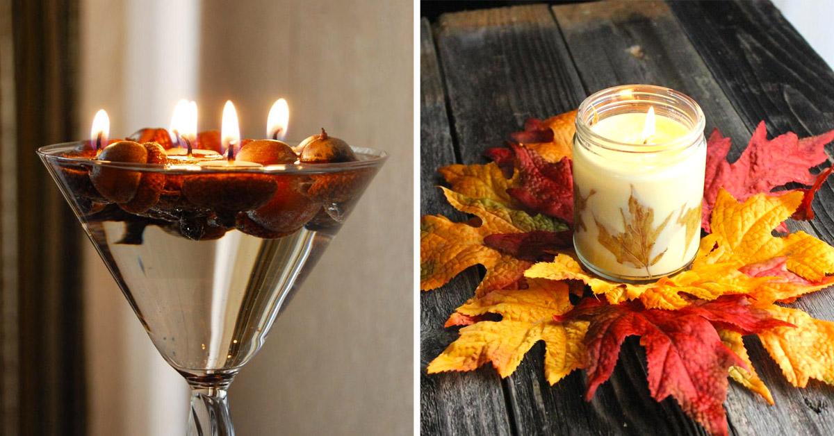Idées décorations avec bougies en automne.