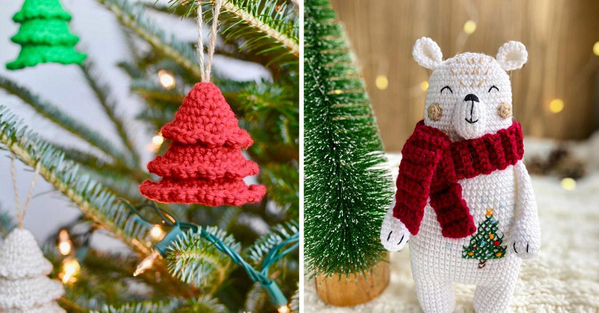Décorations de Noël en tricotin.