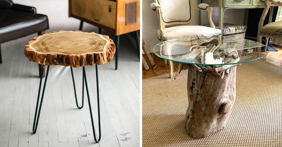 tables DIY avec des troncs d'arbre