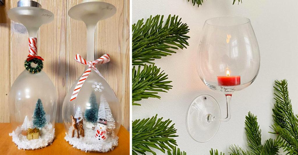 bougeoir Noel DIY avec un verre