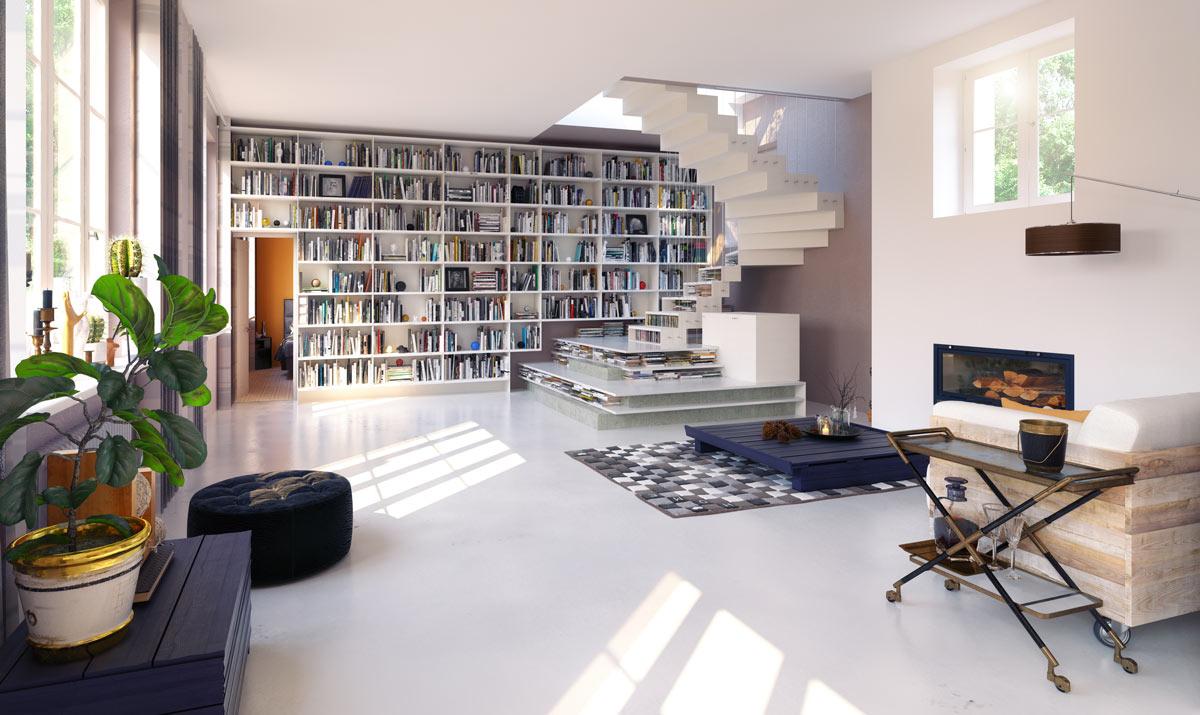 bibliothèque moderne dans le salon