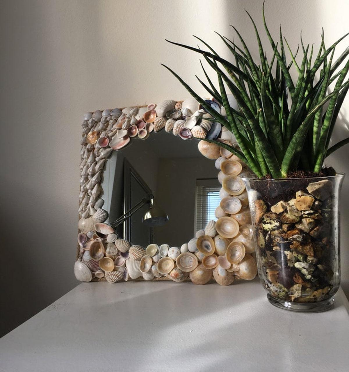 Embellir un miroir avec de la récup
