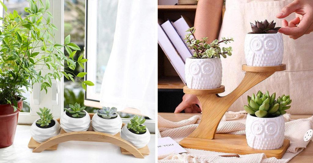 Porte-plantes en bois