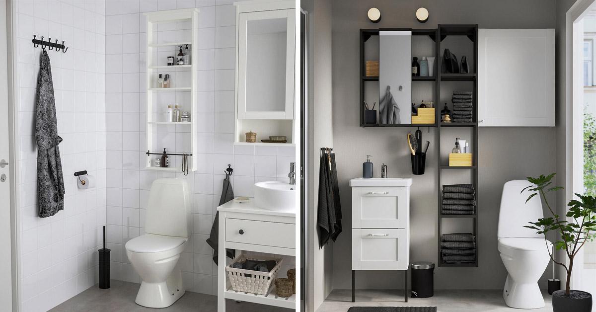 Solutions IKEA pour une petite salle de bains.
