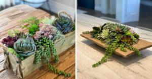centre de table avec des succulentes