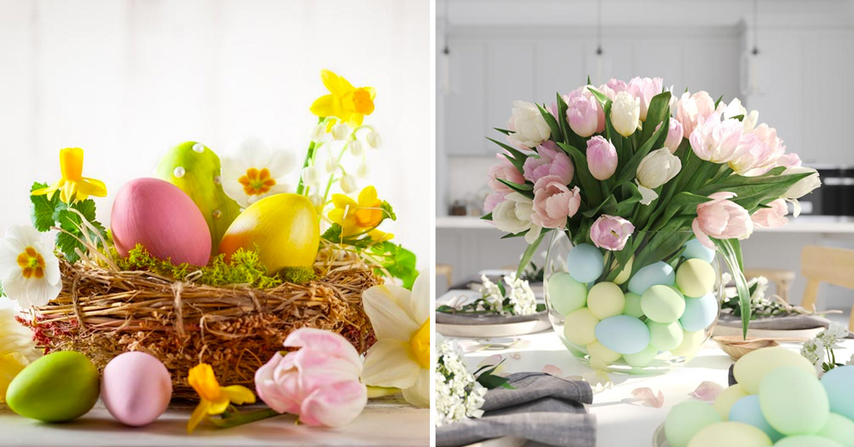 centre de table DIY avec des œufs de Pâques.