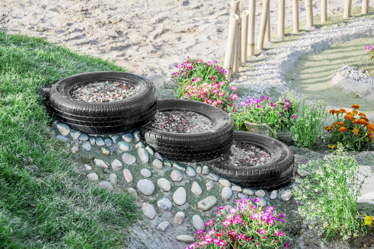 recycler un pneu et le réutiliser dans le jardin