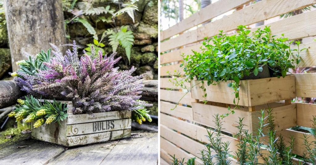 Aménager balcon et jardin avec caisses en bois.