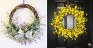 Couronne de printemps DIY avec des fleurs.