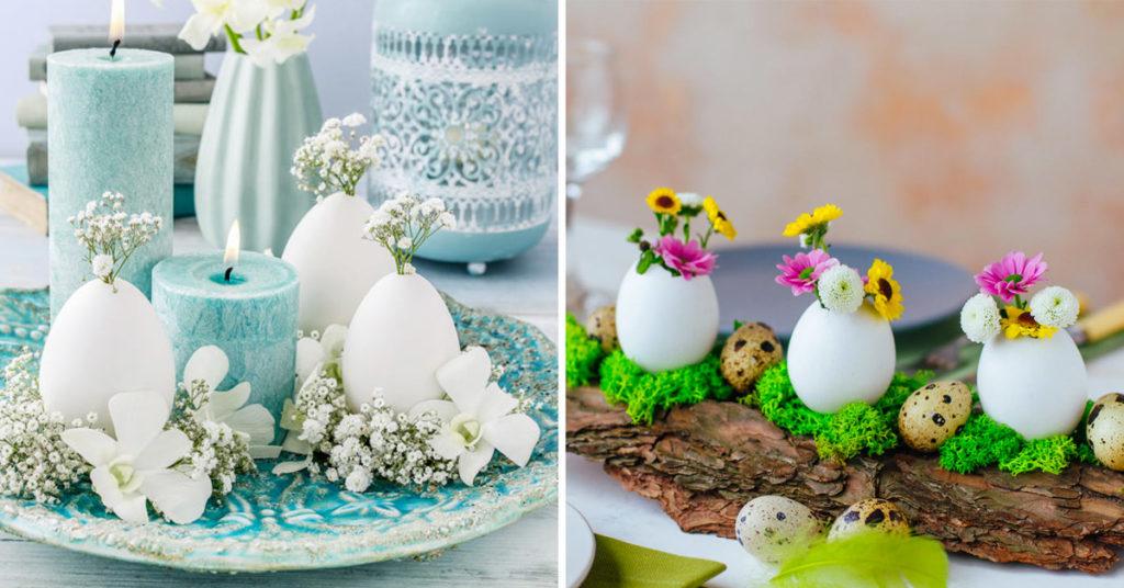 Déco de Pâques avec œufs et des fleurs