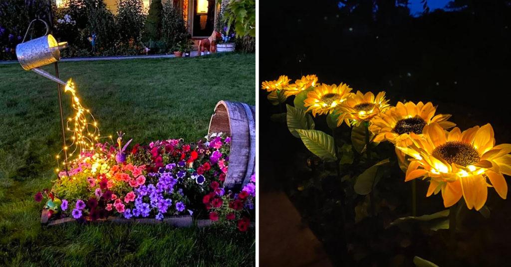 éclairage original jardin