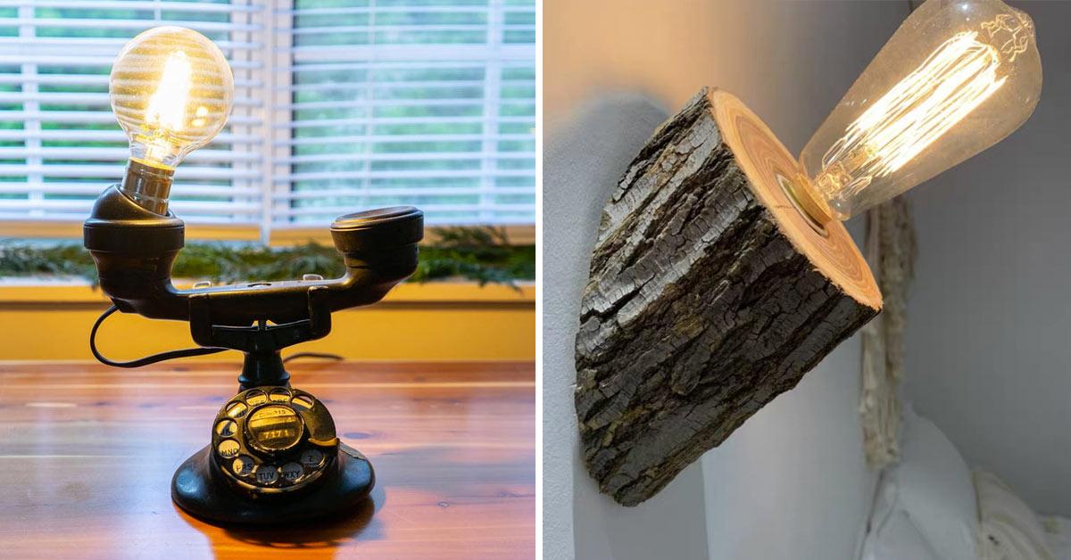 Lampe originale avec objets de récupération.
