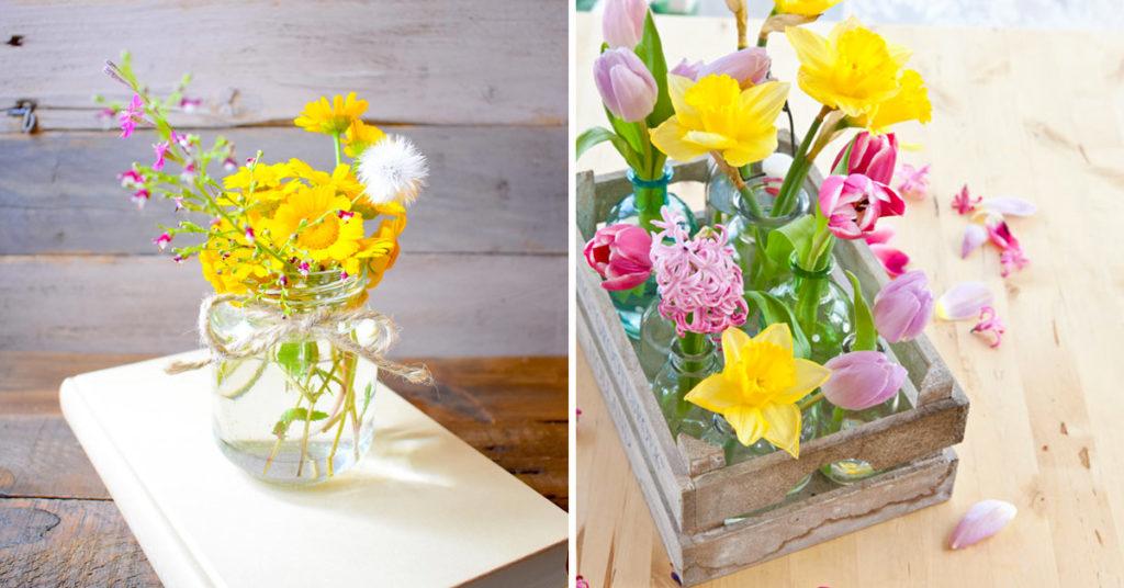 Vases printaniers recyclage créatif.