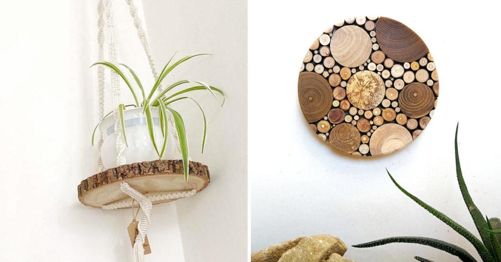 DIY avec rondelles en bois.