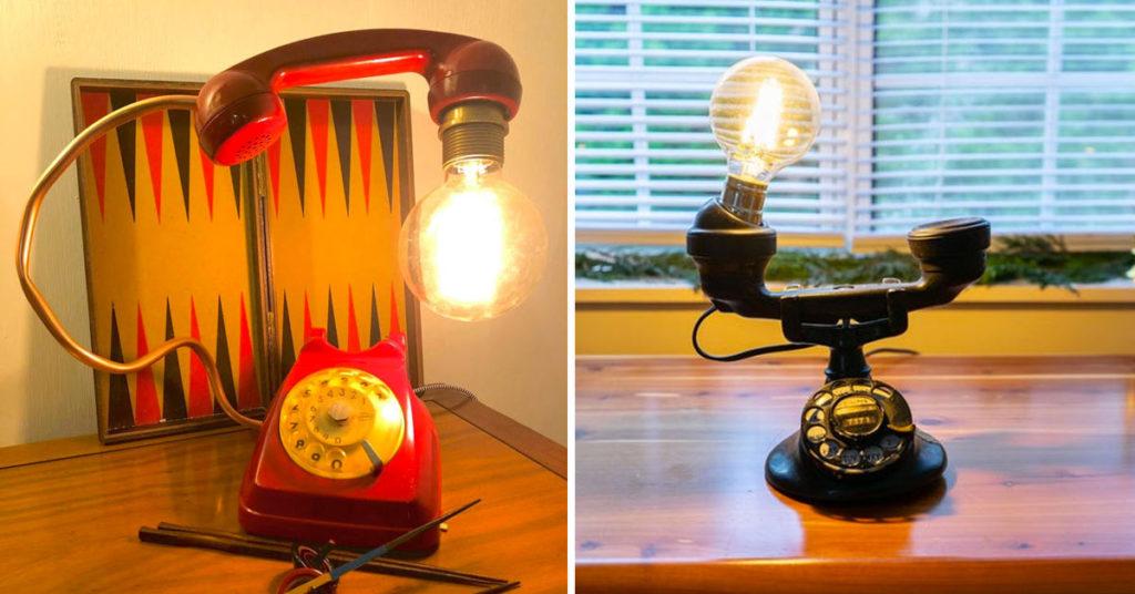 Lampe DIY avec vieux téléphone.