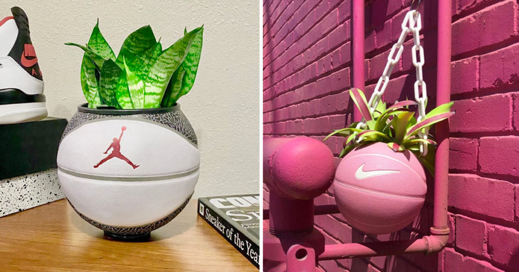 Vase original avec un ballon de basket.
