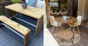 Tables de jardin en bois.