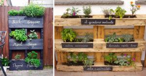 Jardinière verticale DIY de plantes aromatiques.