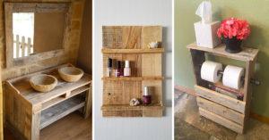 Décorer la salle de bain avec palettes en bois.