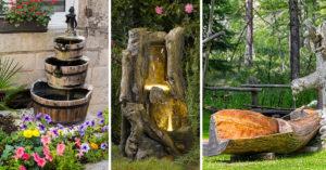 Fontaine en bois DIY pour décorer le jardin.