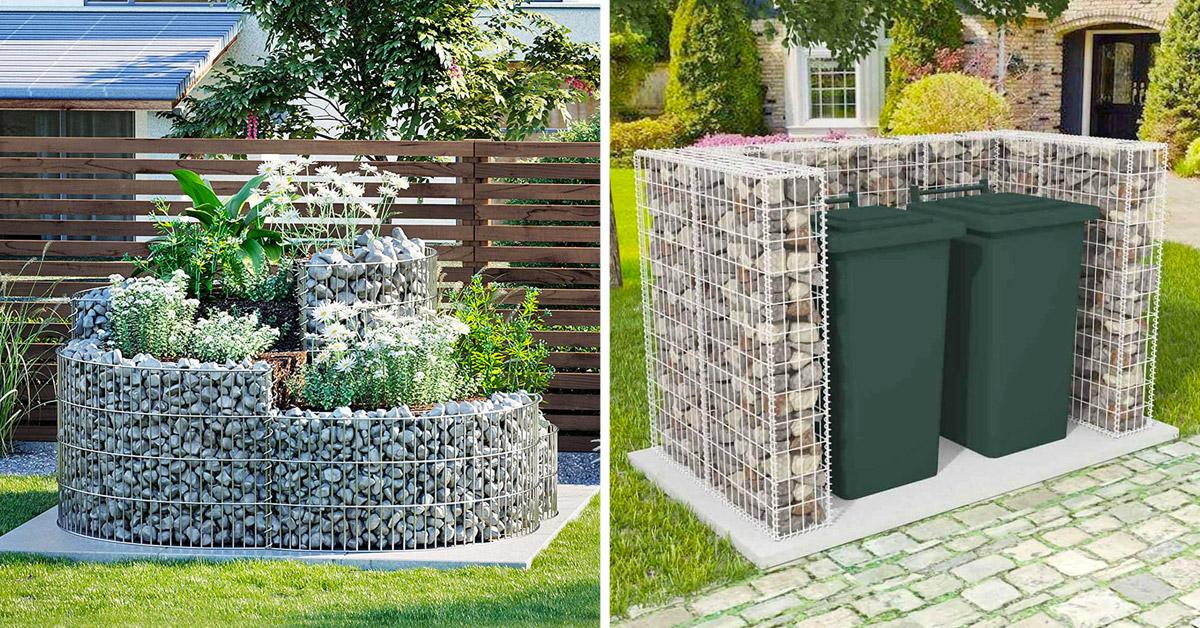 Déco jardin avec gabions métalliques et pierres.