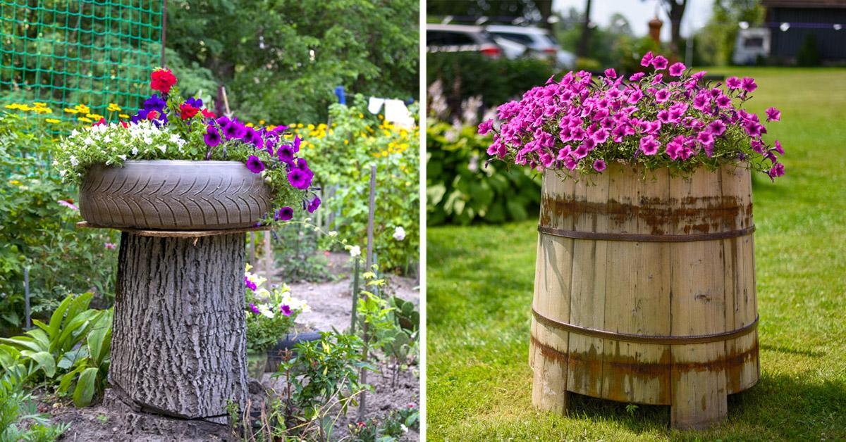 Pot de fleurs créatif dans le jardin avec pas grand chose.