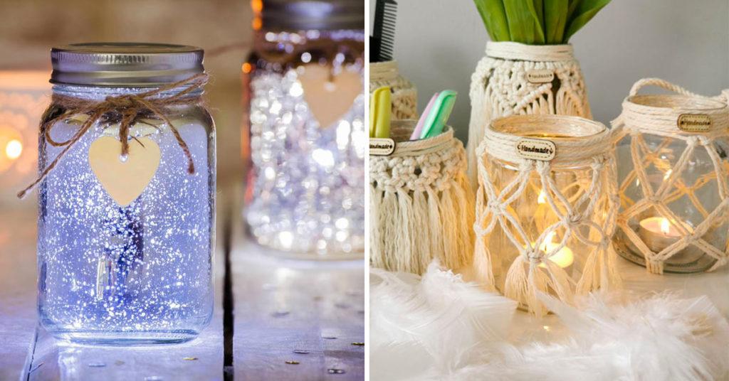 Lanternes DIY avec des bocaux en verre.
