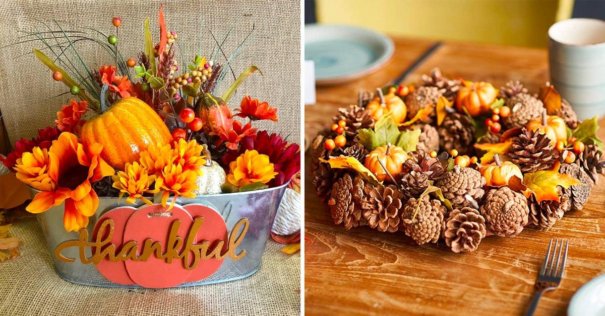 Centres de table aux couleurs de l'automne.