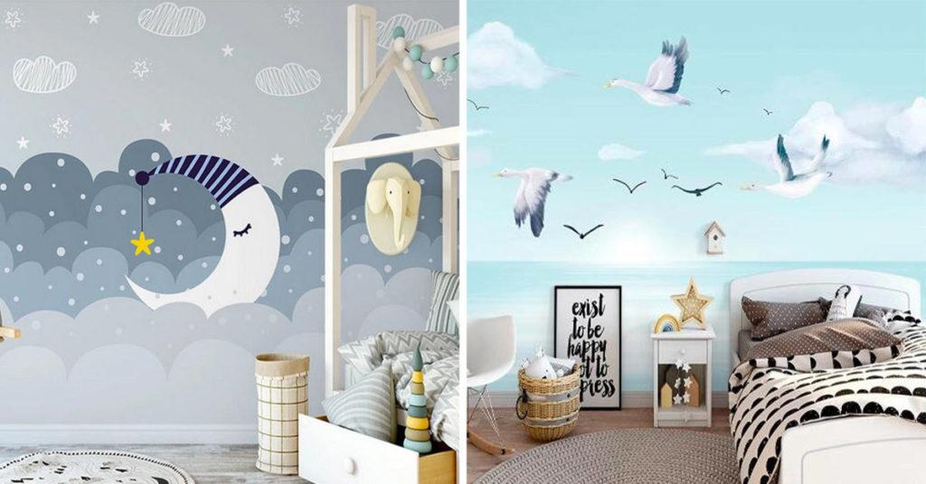 Décorer chambre d'enfant avec du papier peint.