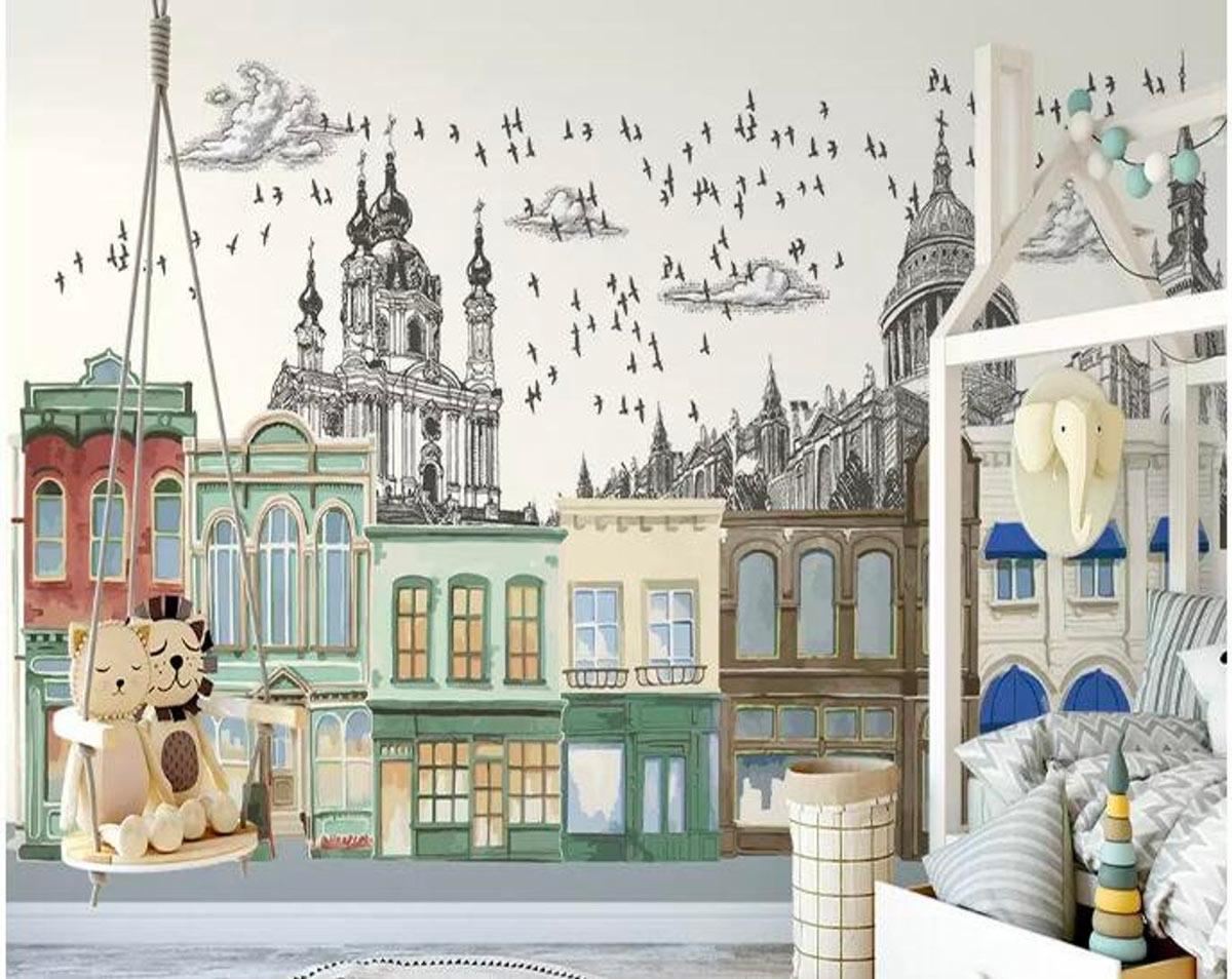 décorer les murs d'une chambre d'enfant avec du papier peint