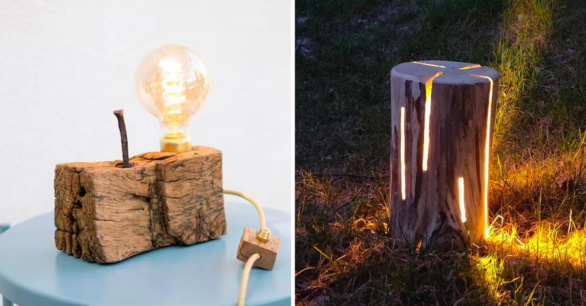 Lampes DIY avec du bois recyclé.