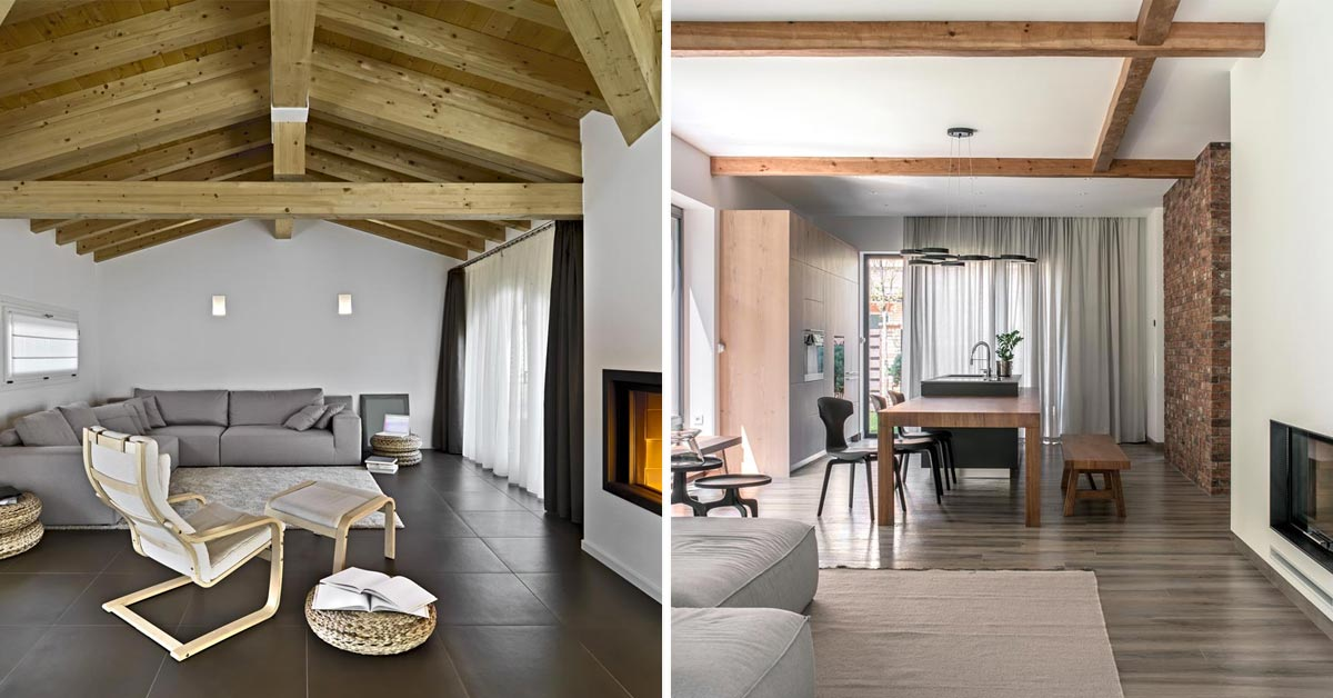 Salon dans un style rustique moderne.