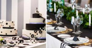 Décorations noir et blanc pour un mariage chic.