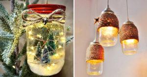 Lanterne avec des bocaux en verre recyclés.