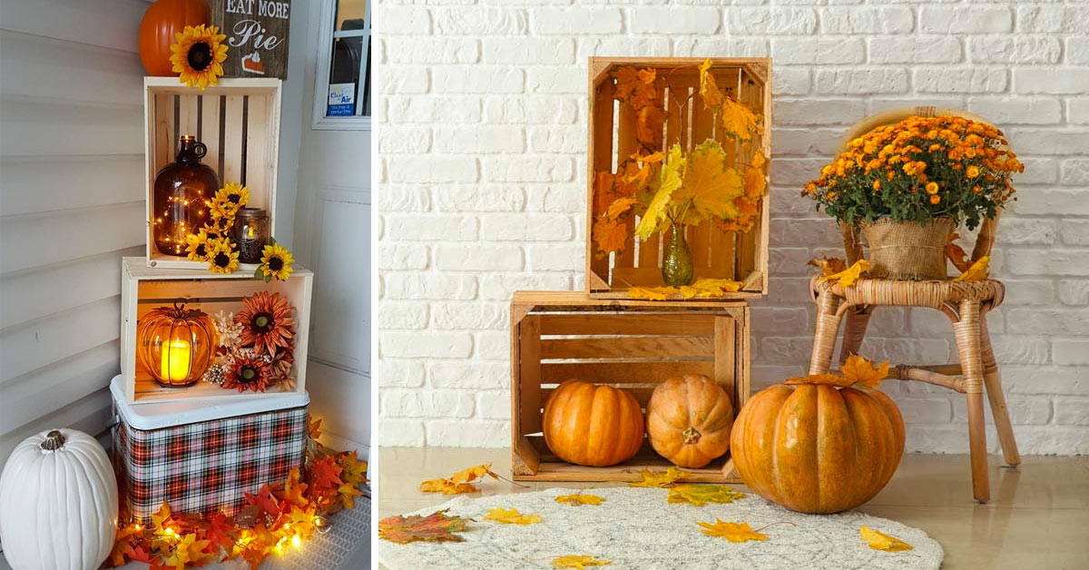 Caisses en bois pour décorer en automne.